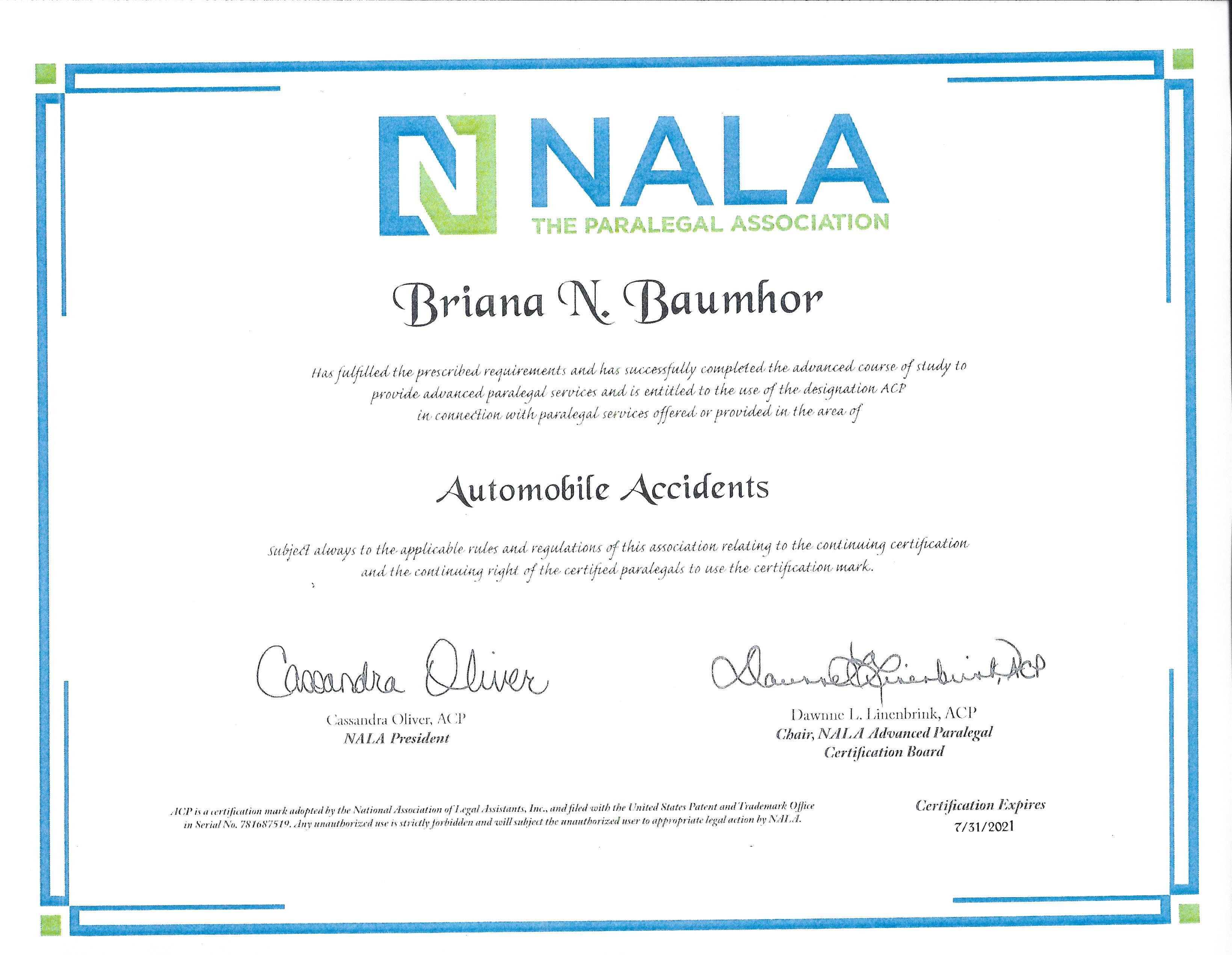 R M Paralegal Briana Baumhor Awarded Prestigious Acp Designation